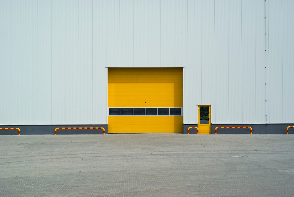 Yellow commercial garage door